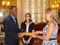 St. Kitts and Nevis' Ambassador-Designate to Cuba, His Excellency Kenneth Douglas (left) presents his credentials to Cuba's Deputy Minister of Foreign Affairs, Her Excellency, Ms. Ana Teresita Gonzalez Fraga