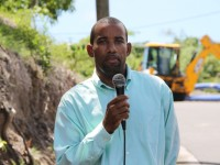 (L-R) Roger Hanley Manager of the Nevis Water Department on sight at the Nevis Water Supply Enhancement Project on the Island Main Road at Maddens