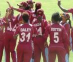 Windies women celebrate another wicket