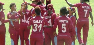 Windies women celebrate another wicket