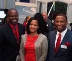 (L-R) Chief Executive Officer of the Nevis Tourism Authority Greg Phillip, Chief Executive Officer of the St. Kitts Tourism Authority Raquel Brown and Deputy Premier of Nevis and Minister of Tourism Hon. Mark Brantley at a cocktail for tourism partners held at the High Commission of St. Kitts and Nevis in London on September 29, 2014
