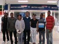 Students at St. Kitts' Robert L. Bradshaw International Airport: (Left to right) – Dexter Bowrin; Andres Simmonds; Rhenz Thompson; Kha-lis Farrell; Crystal Parris-Caines; Oquan Baptiste and Andrew Liburd