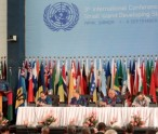 H.E. Mr. John W. Ashe, President of the sixty-eighth session of the General Assembly (at lectern) speaks during the first plenary meeting of the Third International Conference on Small Island Developing States (SIDS) in Apia, Samoa. Secretary-General Ban Ki-Moon (seated, fourth from right) looks on