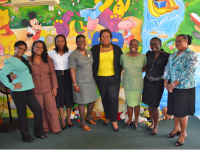 SCHOOL LIBRARIANS (Left to right) - Eulana Batson–CPS; Sharon Liburd–EPPS; Sasha McDermott–VOJN; Marva Roberts–(formerly CSS); Londa Brown- School Library Coordinator; Julitta Parris – STTPS; Blondell Davis (Formerly JLPS); Bernadette Caines – CPS. Missing from Photo: Carian Dore-GSS; Corril Clarke- IWPS; June Kelly - STJPS