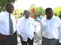 L-R) Premier of Nevis Hon. Vance Amory, Prime Minister of St. Kitts and Nevis Rt. Hon. Dr. Denzil Douglas and Junior Minister in the Ministry of Communication and Works Hon. Troy Liburd touring ongoing work in the Caribbean Development Bank-funded Nevis Water Supply Enhancement Project on October 08, 2014