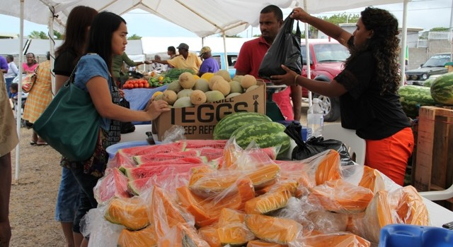 An abundance of locally grown fruits and vegetables on sale by farmers at the Agriculture Open Day on Nevis