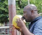 Agriculture Minister Hon. Alexis Jeffers drinks coconut water while on a tour at a government owned farm in Indian Castle (file photo)