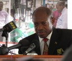 St. Kitts and Nevis' Prime Minister the Rt. Hon. Dr. Denzil L. Douglas addressing the official launching of the New National Minimum Wage and the Long Service Gratuity