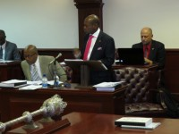 St. Kitts and Nevis' Prime Minister the Rt. Hon. Dr. Denzil L. Douglas (standing) presenting the 2013 Budget Address in his capacity as Minister of Finance. (Photo by Erasmus Williams)