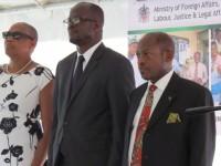 (left to right) Minister of Social and Community Development, the Hon.Marcella Liburd; Minister of Labour Hon. Patrice Nisbett and Prime Minister the Rt. Hon. Dr. Denzil L. Douglas.