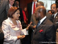 Trinidad and Tobago's Prime Minister the Hon. Kamla Persad-Bissessar (left) and St. Kitts and Nevis' Prime Minister the Right Hon. Dr. Denzil L. Dougla
