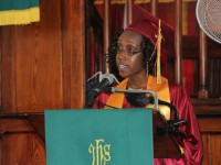 Valedictorian of the Nevis Sixth Form College's (NSFC) Graduating Class of 2014 and State Scholar 2014 Chloe Williams, delivers her valedictory speech