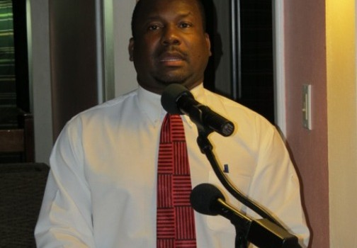 Permanent Secretary in the Ministry of Social Development Keith Glasgow delivering remarks at a reception for outstanding teenagers on Nevis at the Mount Nevis Hotel on November 22, 2014