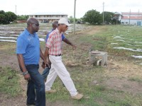 L-R) Minister of Agriculture on Nevis Hon. Alexis Jeffers with Quarantine Officer Quincy Bart and Agricultural Supervisor Randy Elliott at the Prospect Agricultural Station