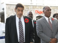 L-R) Police Officer Sargent Ilena Phillip, Deputy Governor General His Honour Eustace John, President of the Nevis Island Assembly Hon. Farrell Smithen, Premier of Nevis Hon. Vance Amory and Mrs. Amory at the War Memorial on November 09, 2014