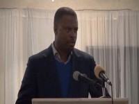 Deputy Premier of Nevis and Minister of Health Hon. Mark Brantley delivering remarks at the Nevis Renal Society's Annual Gala Memorial Awards Dinner at Occasions on November 15, 2014
