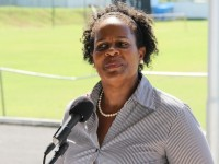Medical Officer of Health/HIV Clinical Coordinator in the Nevis Island Administration (NIA) Dr. Judy Nisbett at a rally at the Elquemedo T. Willett Park on World Aids Day on December 01, 2014