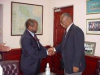 St. Kitts and Nevis' Prime Minister the Rt. Hon. Dr. Denzil L. Douglas  and then Premier, the Hon. Joseph Parry