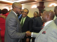 St. Kitts and Nevis Chamber of Industry and Commerce, Mr. Damian Hobson (left) congratulating St. Kitts and Nevis' Prime Minister and Minister of Finance the Rt. Hon. Dr. Denzil L. Douglas on the presentation of the 2015 Budget Address.