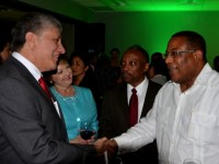 Minister of Industry, Investment and Commerce, Hon. Anthony Hylton (right), is greeted by United States Ambassador to Jamaica, His Excellency Luis Moreno (left), on his arrival at the launch of the Jamaica Investment Forum 2015 at the J. Wray and Nephew headquarters in New Kingston on Thursday (January 22). Also pictured are: Chairman of Jamaica Promotions Corporation (JAMPRO), Milton Samuda (second right), and Deputy Chief of Mission, United States Embassy, Lee Martinez. Minister of Industry, Investment and Commerce, Hon. Anthony Hylton (right), is greeted by United States Ambassador to Jamaica, His Excellency Luis Moreno (left), on his arrival at the launch of the Jamaica Investment Forum 2015 at the J. Wray and Nephew headquarters in New Kingston on Thursday (January 22). Also pictured are: Chairman of Jamaica Promotions Corporation (JAMPRO), Milton Samuda (second right), and Deputy Chief of Mission, United States Embassy, Lee Martinez