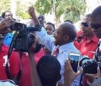 Prime Minister of St. Kitts- Nevis the Rt. Hon. Dr. Denzil Douglas in the square after the government victory was announced