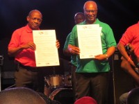 Rt. Hon. Dr. Denzil Douglas and Hon. Joseph Parry at the Contract for Progress event displaying their Contracts. (Picture by Deli Caines )