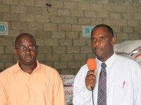 (L-R) Manager of the Supply Office Ricky Liburd and Permanent Secretary in the Ministry of Finance Colin Dore at an interview with the Department of Information on January 06, 2015