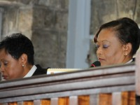 (L-R) Her Ladyship, the Honourable Justice Marlene Carter and her Ladyship, the Honourable Justice Lorraine Williams at a special sitting at the Nevis High Court