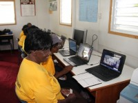 Senior citizens from St. John's and St. George's at their first computer class at the Nevis International Secondary School's computer lab at Brown Pasture on January 29, 2015