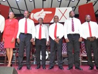 Labour Party candidates (left to right) - Hon. Glenn Phillip (St. Christopher 4); Hon. Marcella Liburd (St. Christopher 2); Mr. Konris Maynard (St. Christopher 3); Rt. Hon. Dr. Denzil L. Douglas (St. Christopher 6); Hon. Dr. Earl Asim Martin (St. Christopher 1); Dr. Norgen Wilson (St. Christopher 5); Dr. Vance Gilbert (St. Christopher 7) and Dr. Terrance Drew (St. Christopher 8). (Photo by Mistique Photo)