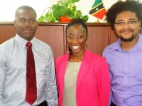 Photo Left to right: Minister of Youth, Hon. Shawn Richards and CARICOM Youth Ambassadors, Sonia Boddie and Klieon John