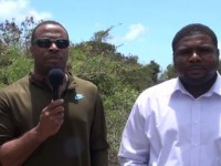 (LR) Deputy Premier of Nevis and Area representative for the St. John's Parish Hon. Mark Brantley and Junior Minister responsible for Public Works Hon. Troy Liburd at Lampa Hill