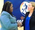 Asst. Permanent Secretary-Social Development-D Michelle Liburd meets with Coach Dyche