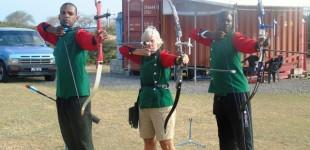 Archers--left to right -Edmund Blackett; Pam Barry and Dane Sandiford
