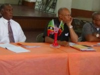 (left to right) Senior Minister Amory shared the head table with Canon Valentine Hodge of the St. Kitts Christian Council and Bishop Ron Dublin-Collins of the Evangelical Association.
