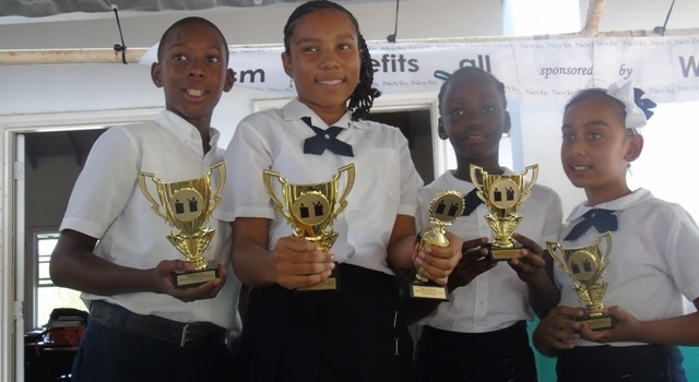 Nevis Academy debaters--left to right--Ayinde  George; Josselyne Essien; Odecia Edwards and Rebeca Chowtipersad