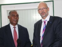 (L-R) Premier of Nevis Hon. Vance Amory and Ambassador Head of Delegation of the European Union to Barbados and the Eastern Caribbean His Excellency Mikael Barfod at the Premier's Bath Hotel Office on May 26, 2015