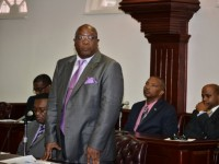 PM Harris makes a statement at the opening of the 2015 - 2020 session of Parliament.