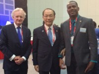 (left to right) Dr David Doyle, Ambassador of St. Kitts and Nevis to UNESCO, Hwang Woo Yea, Deputy Prime Minister and Minister of Education of the Republic of South Korea and Deputy Prime Minister Hon. Shawn Richards.