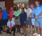 CPL personnel pose with local officials at the Four Seasons resort -Jayawardene far left and Pete Russell -far right