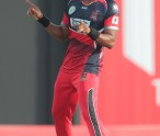 Basseterre, St Kitts - 4th July Dwayne Bravo does a dance in celebration of another wicket to his name  during a  match between T&T Red Steel and Guyana Amazon Warriors as part of week 2 of the Hero Caribbean Premier League 2015 at Warner Park on July 4th, 2015 in Basseterre, St. Kitts. (Photo by Ashley Allen/CPL)