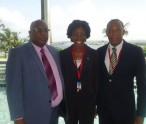 Prime Minister Dr. Hon Timothy Harris , Foreign Service Officer, Ms.Sonia Boddie, Ambassador to Caricom H. E. Sidney Osborne