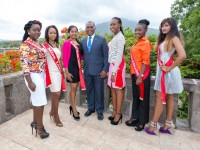 Photo caption: Premier of Nevis Hon Vance Amory (middle) with the Miss Culture Queen contestants (l-r) Evania Thibou, Marencia Roberts, Harsha Parmanand, Jonika Smithen, Keelia English and Bibita Seelall on the terrace on the top floor of the Nevis Island Administration on July 13, 2015