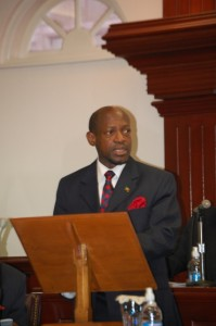 Photo of St. Kitts and Nevis Prime Minister and Minister of Finance, the Rt. Hon. Dr. Denzil L. Douglas presenting the 2010 Budget in March 2010. (Photo by Erasmus Williams)