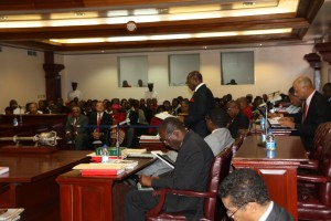St. Kitts and Nevis Prime Minister the Rt. Hon. Dr. Denzil L. Douglas (standing) delivering the 2013 Budget Address in the National Assembly Tuesday morning. (Photo by Erasmus Williams)