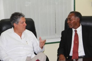 Premier of Nevis Hon. Vance Amory in discussions withnew resident Venezuelan Ambassador to St. Kitts and Nevis His Excellency Romolo Camilo Henriquez Gonzalez at his Bath Hotel office at Bath Plain