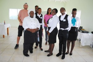 Reggae Beach is off the blocks: Standing at the back from left are Mr Jason Pereira, and Chef Mr Alex Hobson. In the middle row are trainee Ms Niyellia Hazel and assistant Manager Ms Marsha Hensley. In the front row from left are trainees Ms Nicole Perdereaux, Ms Cleressia Stapleton, Mr Kevin Benjamin, and Ms Anoncia Johnson.