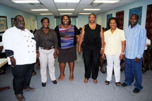 Hospitality class instructors with PEP officials, from left: Mr Jason Morton, Ms Leslean Roberts, Ms Telly Valerie Onu, Mrs Celia Christopher, Mrs Joan Millard, and Mr Dominic Stevens
