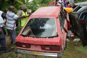 A multiple vehicle accident simulation exercise at River Path in Gingerland on May 27, 2013