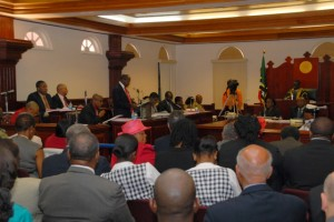 Prime Minister Denzil Douglas delivering his Government's 2013 Budget Presentation